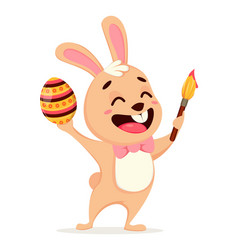 happy easter greeting card cute rabbit vector image