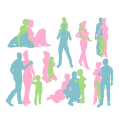 Happy family detailed silhouettes vector
