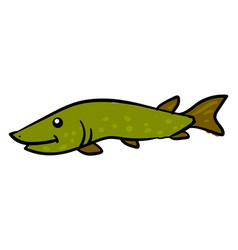 happy green pike on white background vector image