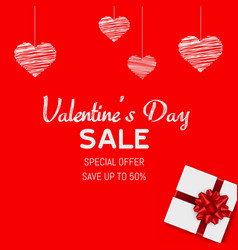happy valentines day sale card with gift box vector image