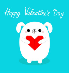 happy valentines day white badog puppy head vector image