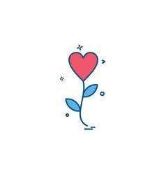 heart flower icon design vector image
