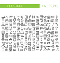 Household appliances line icons set vector