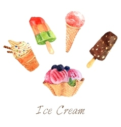 Ice cream watercolor set vector