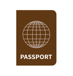 international brown passport with globe on white vector image
