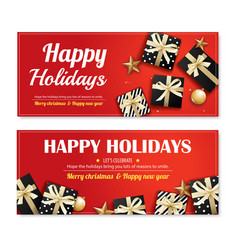 invitation merry christmas poster banner and card vector image