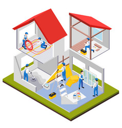 isometric house renovation composition vector image