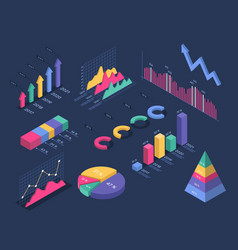 isometric infographics pie chart circle graph vector image