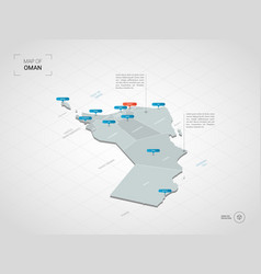 Isometric oman map with city names and vector