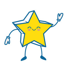 Kawaii star icon vector
