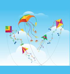 kites flying in sky vector image