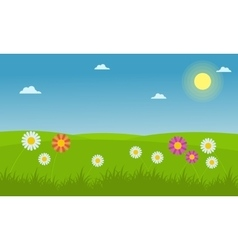 Landscape of flower spring vector