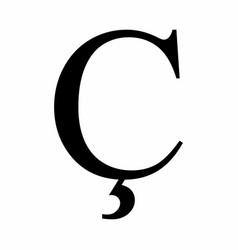 Latin c cedilla letter vector