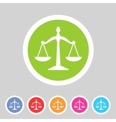 Law balance icon flat web sign symbol logo label vector image