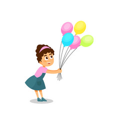 lovely little girl with bunch of colorful balloons vector image