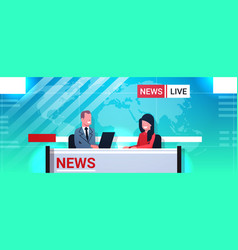 male presenter interviewing woman in television vector image