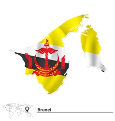 Map of Brunei with flag vector