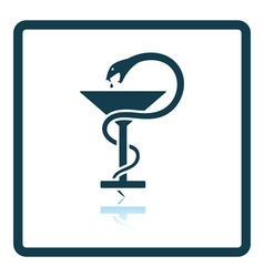 Medicine sign with snake and glass icon vector image