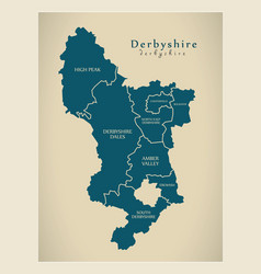 Modern map - derbyshire county with districts vector