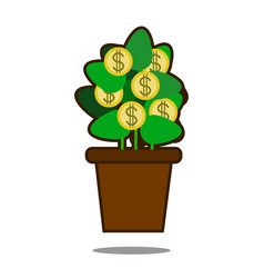 Money tree with golden coins tree in pot vector