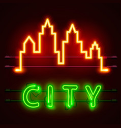 Neon city text banner city shape vector