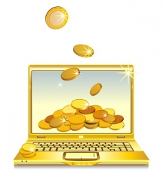 Notebook with gold coins vector