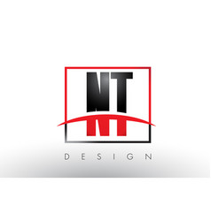 nt n t logo letters with red and black colors and vector image