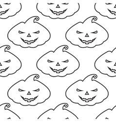 Pattern silhouette pumpkin with scary face vector