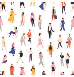 People in fashionable clothes flat seamless vector