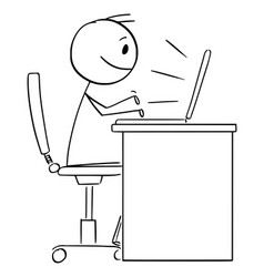 Person or office worker working or typing vector