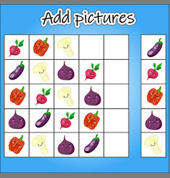 picture sudoku is an educational game for the vector image