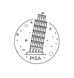Pisa tower icon on the white vector