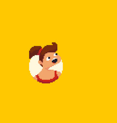 pixel art girl vector image