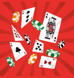 poker cards casino chip gambling design red vector image