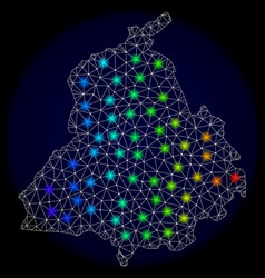 Polygonal carcass mesh map of punjab province with vector