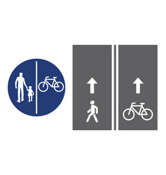 road sign pedestrian and bicyclist vector image