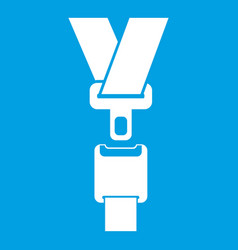 Safety belt icon white vector
