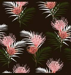 seamless tropical protea flowers and palm leaves vector image