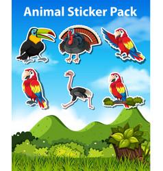 set bird sticker vector image