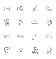 Set of 16 editable travel icons includes symbols vector