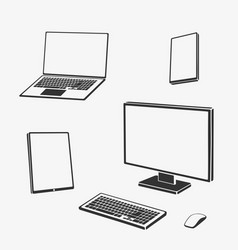set of symbols computer technique vector image