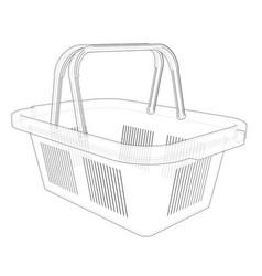 Shopping basket sketch vector