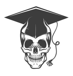skull in a bachelor hat tattoo vector image
