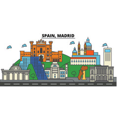 spain madrid city skyline architecture vector image