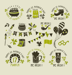 stpatrick s day logos hand drawing vector image
