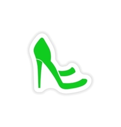 Stylish paper sticker on white background shoes vector