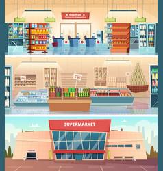 Supermarket facade grocery food market interior vector