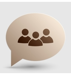 Team work sign Brown gradient icon on bubble with vector image