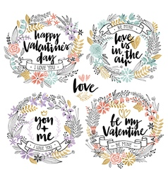 Valentines day calligraphic floral set vector