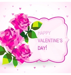 Valentines day card with beautiful flowers vector